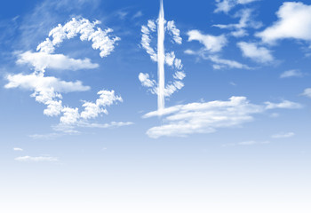 Cloud Euro and $ currency symbol shape over blue sky