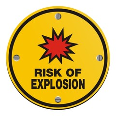 risk of explosion - round yellow sign