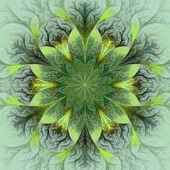 Beautiful fractal flower in brown, green and gray. Computer gene