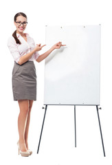 Businesswoman with flip chart