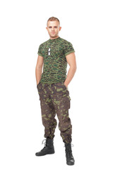 Full length portrait of serious army soldier