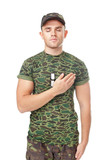 Young army soldier swear solemnly poster