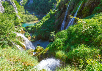 Waterfalls and grasses in Plitvice Lakes National Park (Croatia)