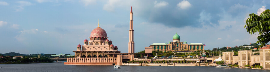 Panorama view of Putrajaya Mosque and Perdana Putra buildings.