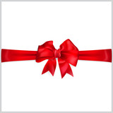 Bow of red horizontal ribbon