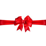 Bow of red horizontal ribbon with cut edges