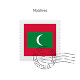 Maldives Flag Postage Stamp.