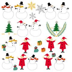 サンタクロースと雪ダルマ
