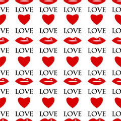 seamless pattern of red lips and hearts on a white background.ba