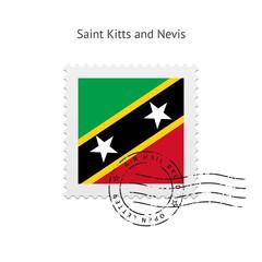 Saint Kitts and Nevis Flag Postage Stamp.