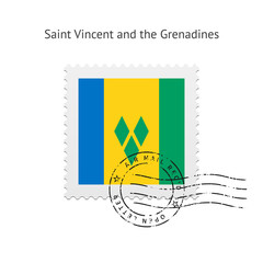 Saint Vincent and the Grenadines Flag Postage Stamp.