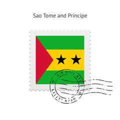 Sao Tome and Principe Flag Postage Stamp.