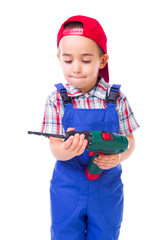 Little handyman with drill