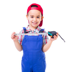 Little handyman with measuring tape