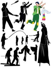 juggler clown people on stilts childrens games