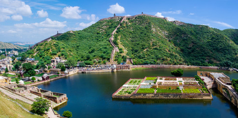 Maota Lake and Gardens of Amber Fort in JaipurIndia
