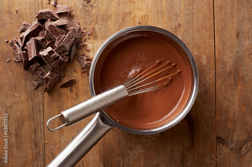 Preparing hot chocolate in a pot