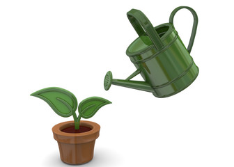 Watering a Plant - 3d