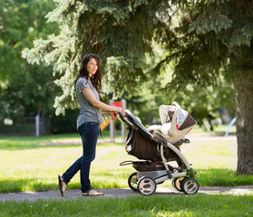 Young Mother Pushing Stroller In Park