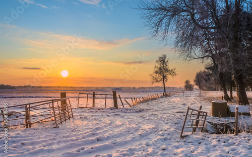 Gates and Fences in Winter Landscape