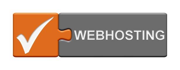 Puzzle-Button orange grau: Webhosting