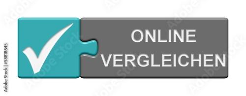 Leinwandbild Motiv Puzzle-Button blau grau: Online vergleichen