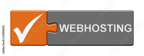 Puzzle-Button orange grau: Webhosting
