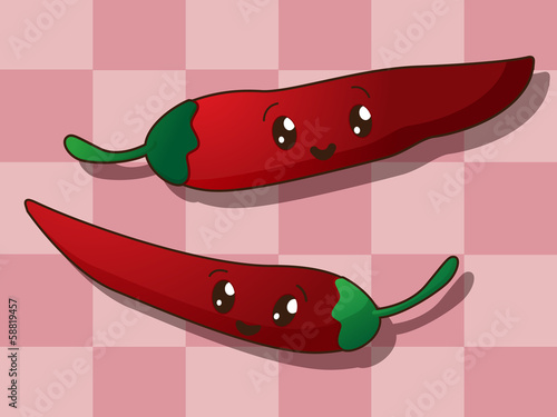 Kawaii hot paprika icons
