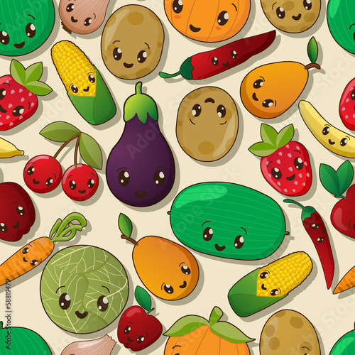 Seamless kawaii pattern