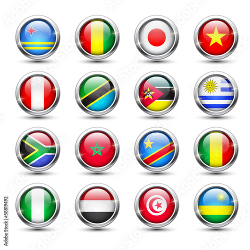 World flag glass icons