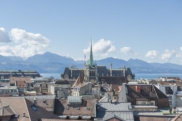 Lausanne, Aussichtspunkt, Altstadt mit Kathedrale, Schweiz