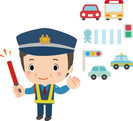 交通整理をする警備員の男性