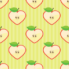 Halves apple seamless vector pattern or background