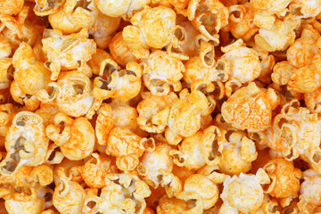 Cheddar Cheese Popcorn Hot Sauce Flavor Close View