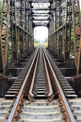 Old  Steel train bridge across the river