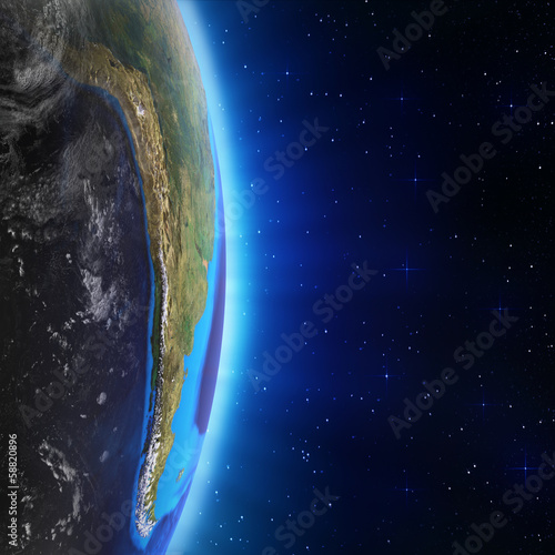 South America landscape from space