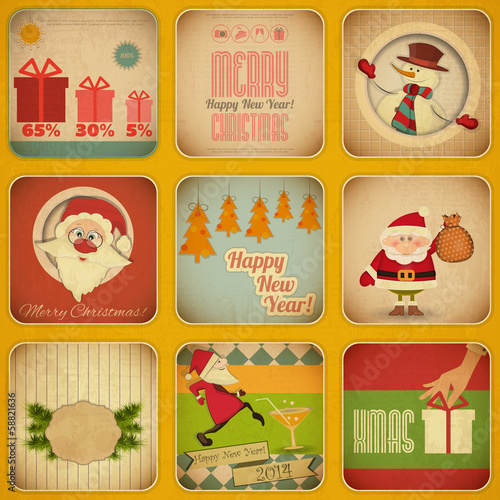 Retro Merry Christmas and New Years Card. Set