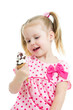 kid girl with ice cream isolated