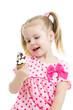 kid girl with ice cream isolated