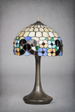 lampe art nouveau ancienne avec abat-jour en vitraux poster