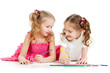 kids drawing with color pencils together over white