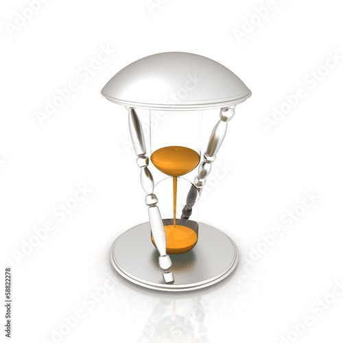 Transparent hourglass. Sand clock icon 3d illustration.