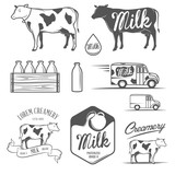Set of milk and creamery labels, emblems and design elements
