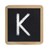 letter K on blackboard