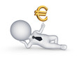 3d small person with sign of euro.