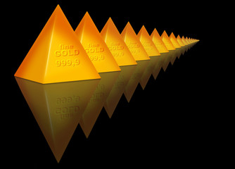 Pyramid of fine gold, business and wealth
