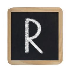 letter R on blackboard