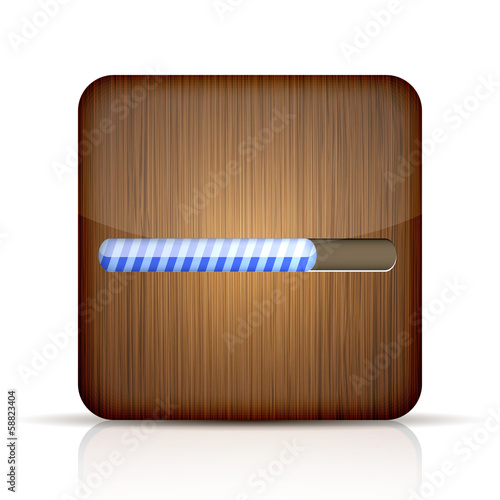 Vector wooden app icon with progress bar