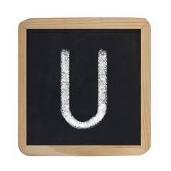 letter U on blackboard