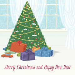 Christmas Tree with Gifts and Greetings